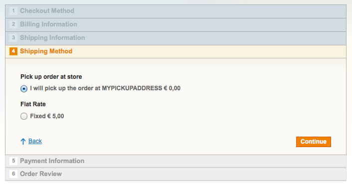 Screen shot of the magento extension - payment on pickup